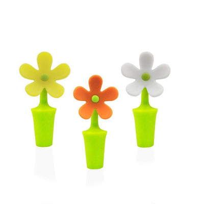 Barware - 1 piece Potted Flower-shaped Silicone Wine Stopper Random Colors -   jetcube