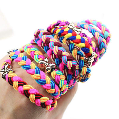 Hair Accessories - 10 Pcs /  Lot Women Ultra Elastic Headband Hairband Ladies Braided Scrunchie Hair Rope Rubber Band Girls Bow Hair Accessories -   jetcube