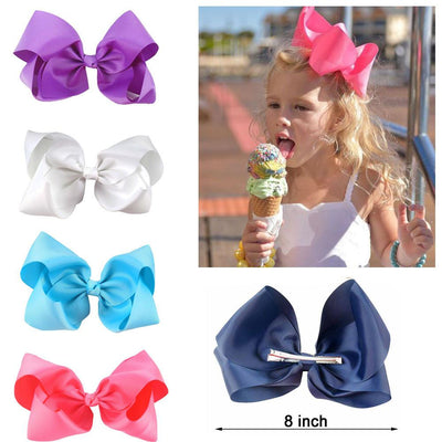 Hair Accessories - 10 pcs/lot 3 inch Grosgrain Ribbon 8 inch Big Hair Bow Boutique Hair Bow For Girls Hair Bow With Clip ZH10-14022015 -   jetcube