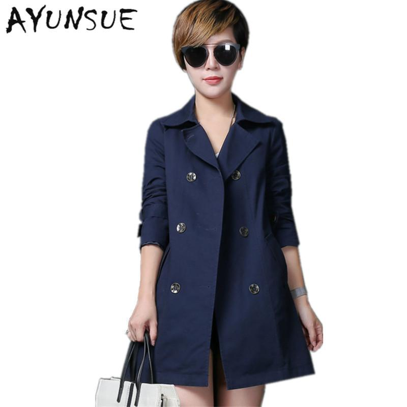 fd50ee7108f Coats - 100% Cotton Plus Size Navy Coat Female Spring Autumn Windbreaker  Women European Trench