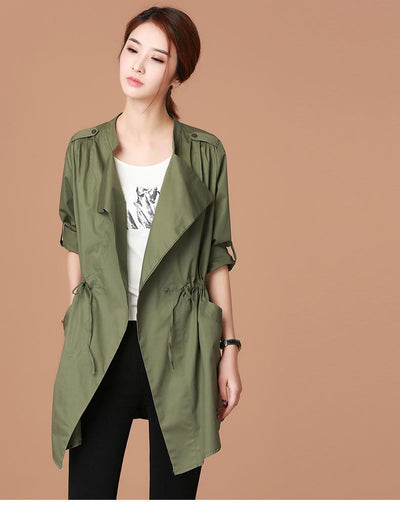 017aec7bad4 Trench - 100% Cotton Summer Plus Size Stylish Women s Trench Coats Spring  Slim Irregular Female