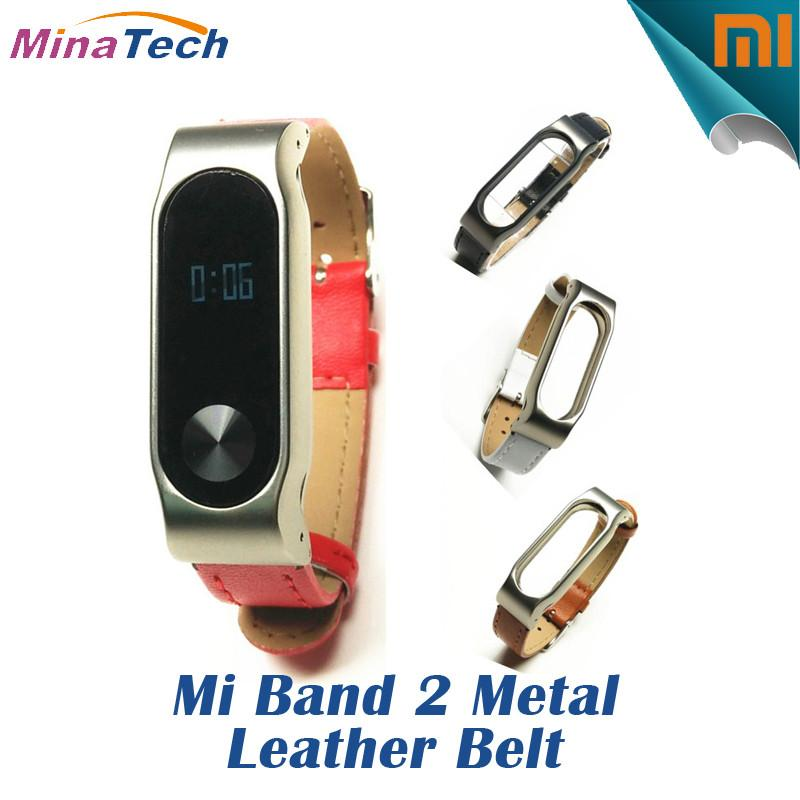 Smart Wristbands - 100% Original Strap For Xiaomi Mi Band 2 Metal Leather Belt Bracelet For MiBand 2 Wristbands Replace Accessories For Mi Band 2 -   jetcube
