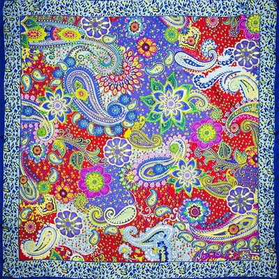 Scarves - 100% Silk Scarf Women Scarf Paisley Scarf Silk Bandana Hot Hijab 2017 Top Foulard Flower Hot Middle Square Silk Scarf Lady Gift -   jetcube