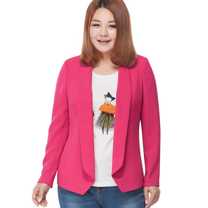 Blazers - 100 kg can Wear Woman Spring Autumn Loose Blazer Jacket Candy Color Plus Size Chiffon Cardigan Coat Long Sleeve OL Work Suits -   jetcube