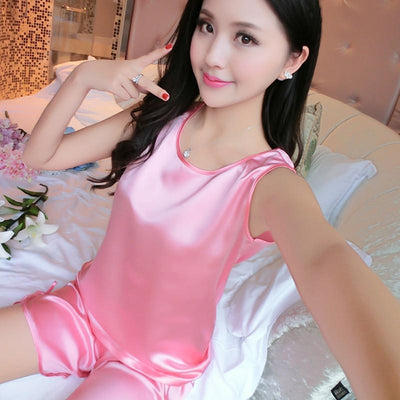Pajama Sets - 1005 Ladies Sexy Silk Satin Pyjamas Femme Sleeveless Pijama Feminino Ice Silk Pajama Set Sleepwear Summer Homewear For Women -   jetcube