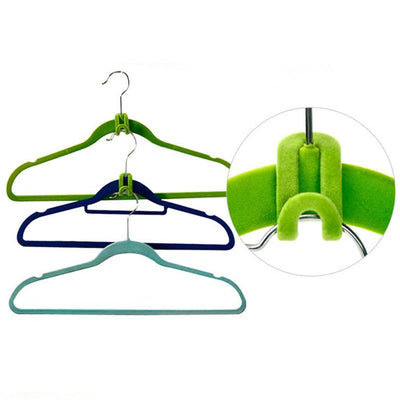 Clothing & Wardrobe Storage - 10PCS/Lot Cloth Hanger Hook Mini Flocking Clothes Hanger Easy Hook Closet Organizer Holder Random Color -   jetcube