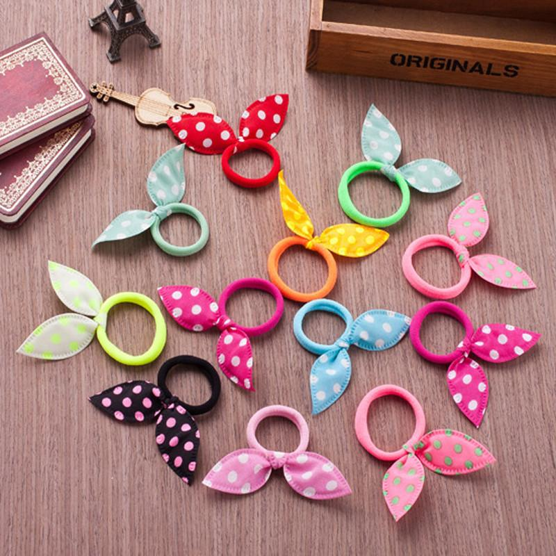 Hair Accessories - 10pcs Fashion Girls Hair Band Polka Dot Bow Rabbit Ears Elastic Hair Rubber Ponytail Holde Hair Accessories For Women Headband -   jetcube