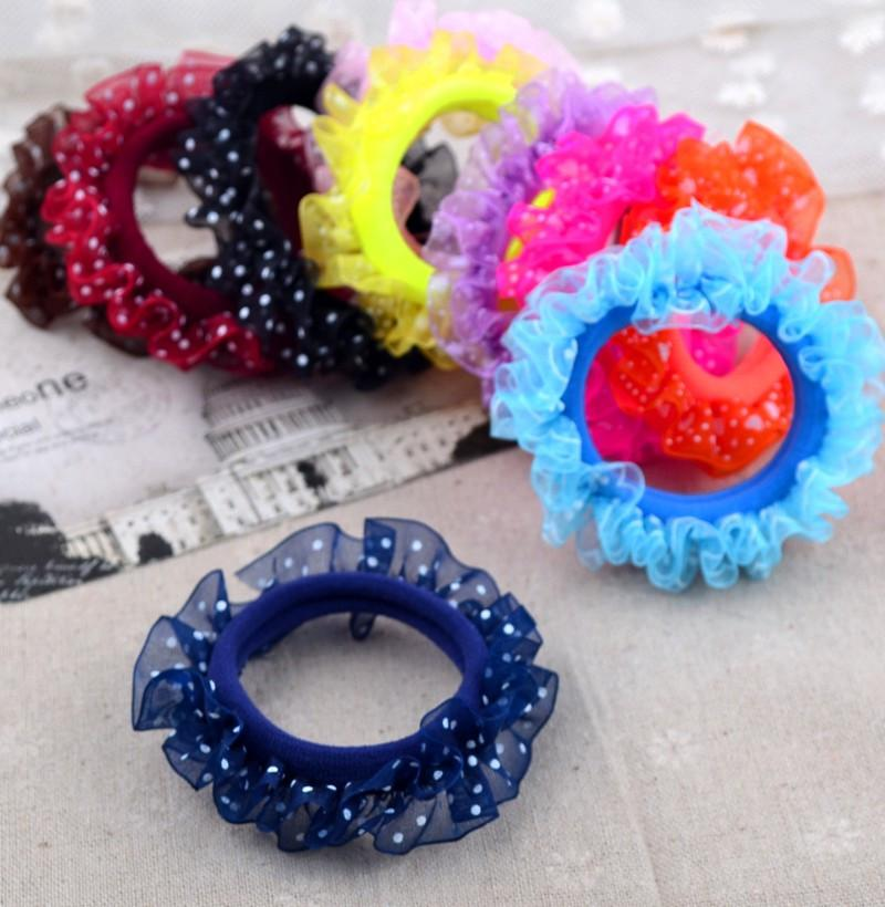 Hair Accessories - 10pcs/lot Lace Hair Holders Elastics 2016 New 12 Colours Fashion Candy Colours Child Girls' Rubberbands Tie Gum Hair Accessories -   jetcube