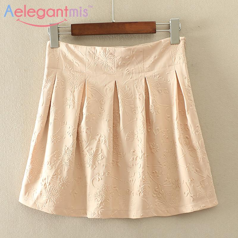 Skirts - (11.26 Special Offer) Aelegantmis High Waist A-line Floral Mini Skirt Women -   jetcube