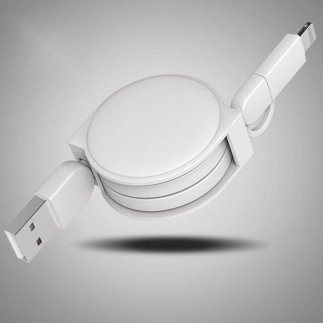 Electronics&Accessories - 2 in 1 Retractable USB Cable -   jetcube