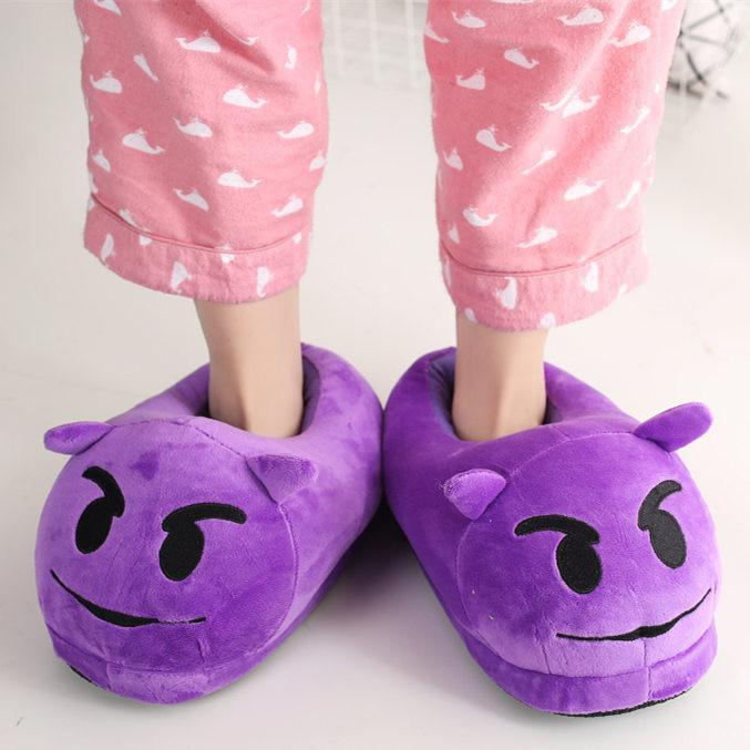 13 Color  Funny Animal  Cute Emoji Slippers Cartoon Slipper Warm Soft Plush Winter Indoor Emoji Shoes Women's Pumps BeeLife Shoe Store- upcube