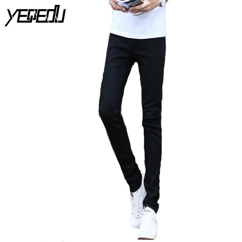 #1404 Thin Spring 2017 White jeans men Elasticity Casual jeans hommes Slim fit Skinny jeans men Famous brand Distressed Pencil