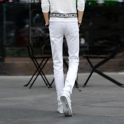 Jeans - #1404 Thin Spring 2017 White jeans men Elasticity Casual jeans hommes Slim fit Skinny jeans men Famous brand Distressed Pencil -   jetcube