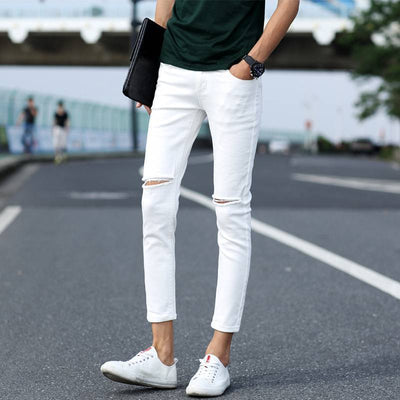 #1408 Destroyed jeans men Summer 2017 Casual White/Black ripped jeans men High street Ankle-length Men black ripped jeans - Jetcube