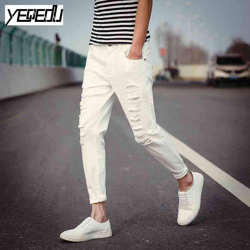 Jeans - #1410 Black ripped jeans men Summer 2017 Elastic cotton Slim Korean Mens skinny jeans Cheap white jeans men Pantalon homme -   jetcube