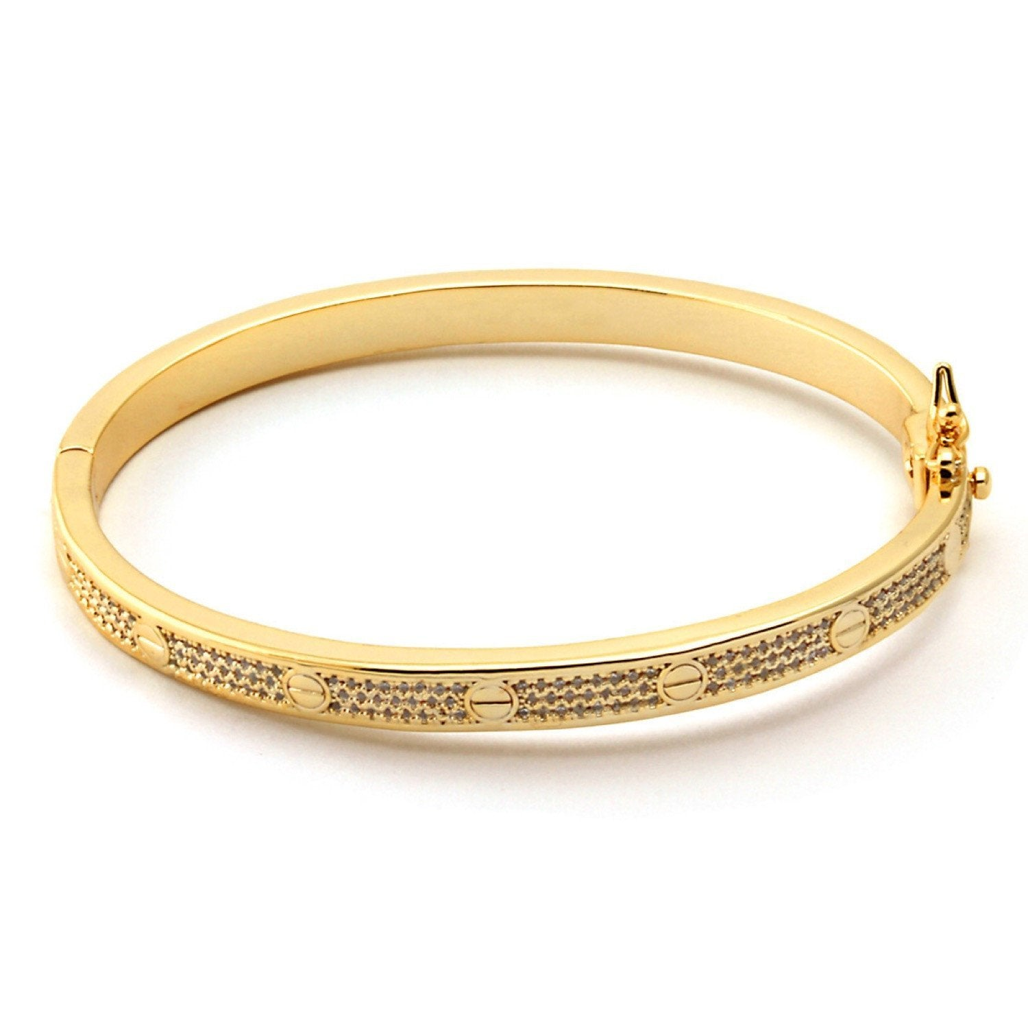 Sale - 14K Gold Flat Head Bangle -   jetcube