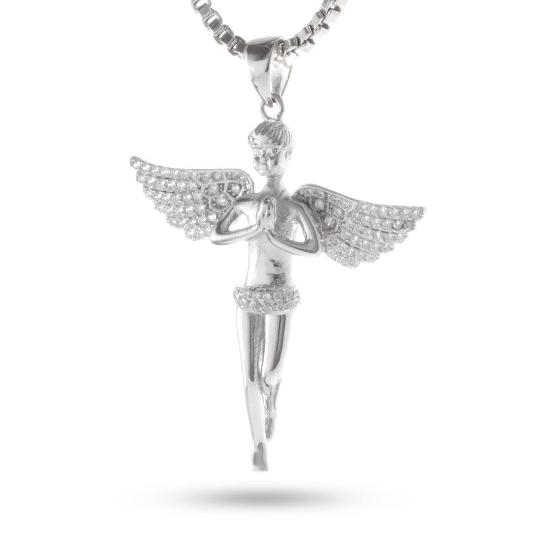 Pendants - .925 Sterling Silver Mini Praying Angel Necklace -   jetcube