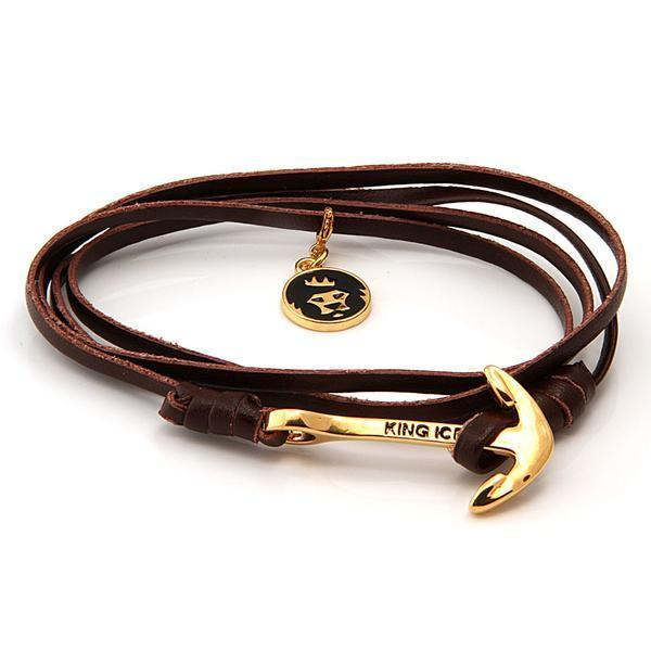 Sale - 14K Gold Brown Leather Anchor Bracelet -   jetcube