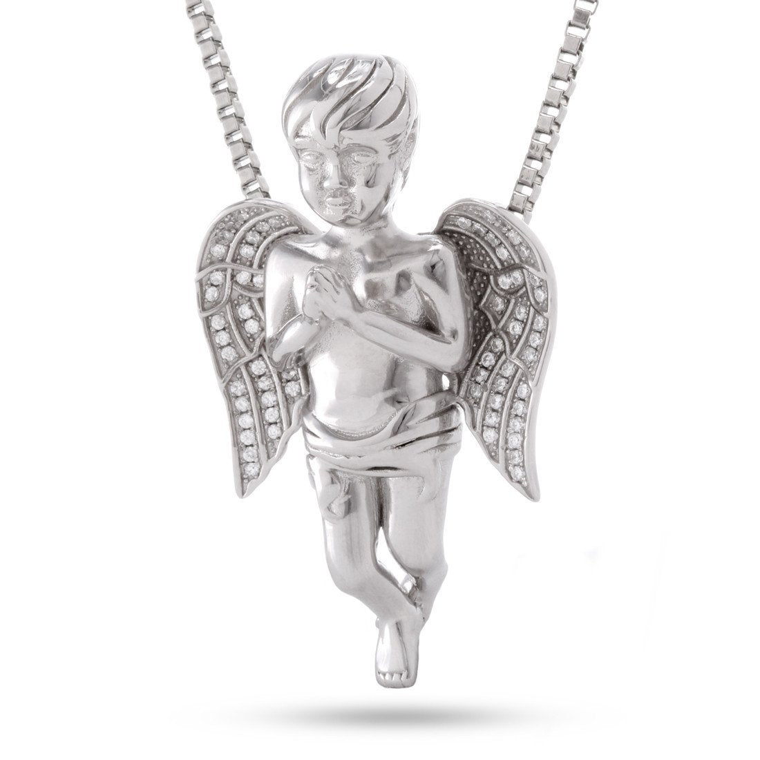 Pendants - .925 Sterling Silver CZ Praying Angel Necklace -   jetcube