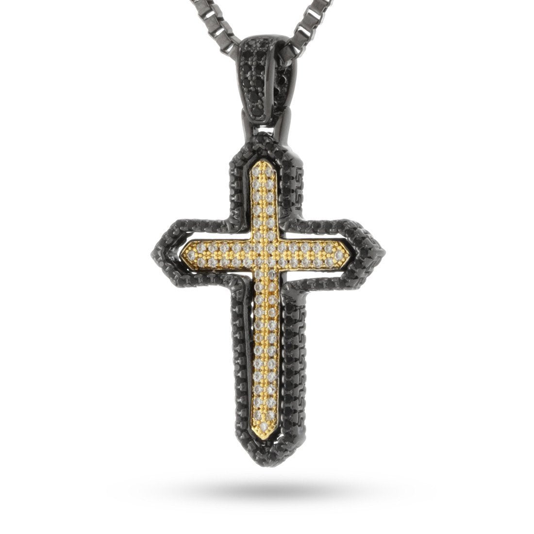 Pendants - .925 Sterling Silver CZ Dual Cross -   jetcube