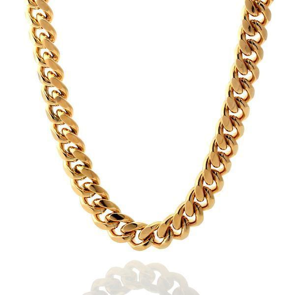 Chains - 10mm, Stainless Steel 14K Gold Miami Cuban Curb Chain -   jetcube