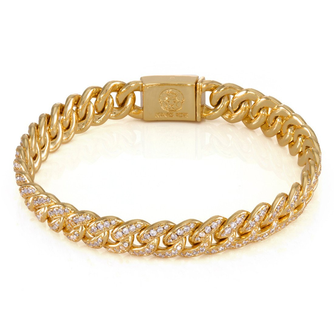 "Bracelets - 14K Gold 10mm ""Studded"" Miami Cuban Curb Bracelet -   jetcube"