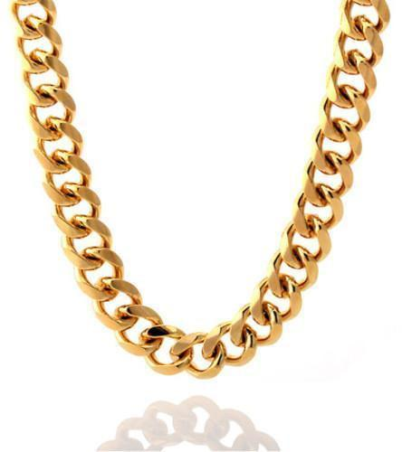 Chains - 12mm, Stainless Steel 14K Gold Miami Cuban Curb Chain -   jetcube
