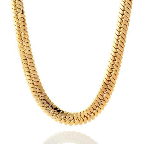 Chains - 10mm, 14K Gold Thick Herringbone Chain -   jetcube
