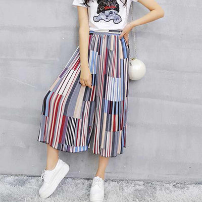 Pants & Capris - #1623 Summer Loose Skirt pants women Fashion Wide leg pants Chiffon pants Elastic waist Colorful Calf-length Wide trousers -   jetcube