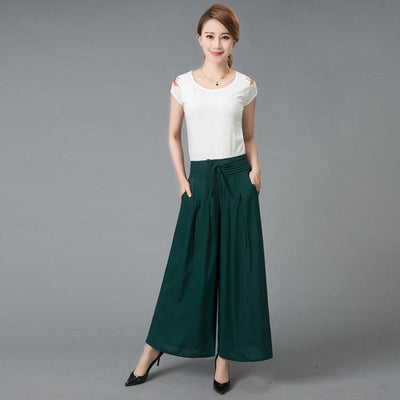 - #1627 2017 Summer Wide leg pants Loose trousers women Skirt pants Pantalon femme Flare pants Wide trousers Pantalones mujer -   jetcube