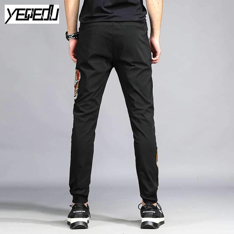 Pants - #1657 Stretch Space cotton Black Embroidery sweatpants Elastic waist Hip hop pants Mens joggers Pantalon homme Track pants 4XL -   jetcube