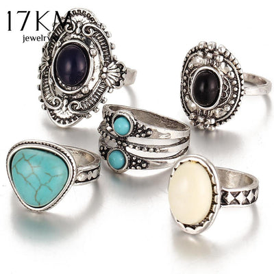 Rings - 17KM 5 Pcs/Set  Antique Gold /Silver Bohemian Midi Ring Set Vintage Steampunk Anillos Knuckle Rings For Women Boho Jewelry -   jetcube