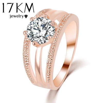Rings - 17KM Austrian Crystals Ring Rose Gold Color anelli Flower Ring bague Engagement anillos anel Rings for Women wedding ring -   jetcube