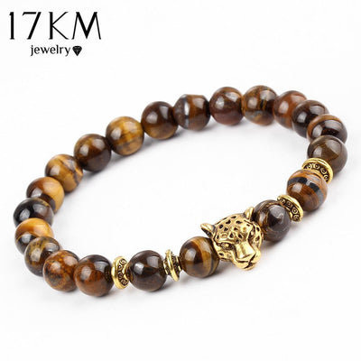Buddha - 17KM Pulseras mujer Gold Color Leopard Head Bead Buddha Bracelet Natural Stone Lava Matte Tiger Eye Men and Women Bracelets -   jetcube