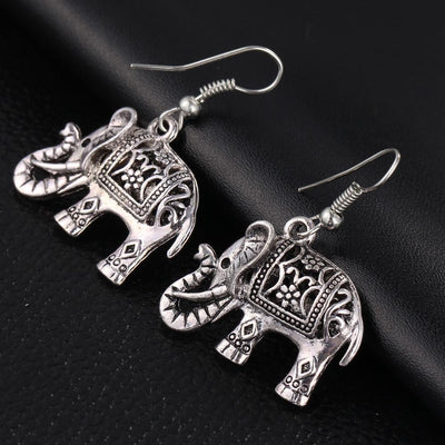 Earrings - 17KM Unique Tibetan Silver Color Hollow Carved Elephant  Drop Dangle Fashion Hollow Out Vintage Earrings For Women Party Jewelry -   jetcube