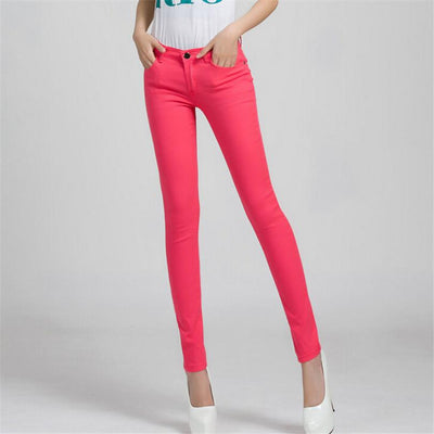 - 18 Colors Jeans 2017 New Sexy Women Pants Spring Summer Fashion Pencil Pant Lady Skinny Long Candy Color Plus Size Trousers K104 -   jetcube