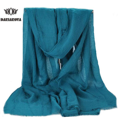Scarves - 180 x 90cm Solid Color Cotton Linen Scarves Women Viscose Scarf Pareo Beach Shawls Wraps Tassels Sjaals Zomer Foulard Pashmina -   jetcube
