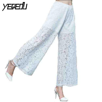 #1908 2017 Spring summer trousers White/Black wide leg pants Hollow out Loose Women trousers Spodnie damskie Lace up pants - Jetcube