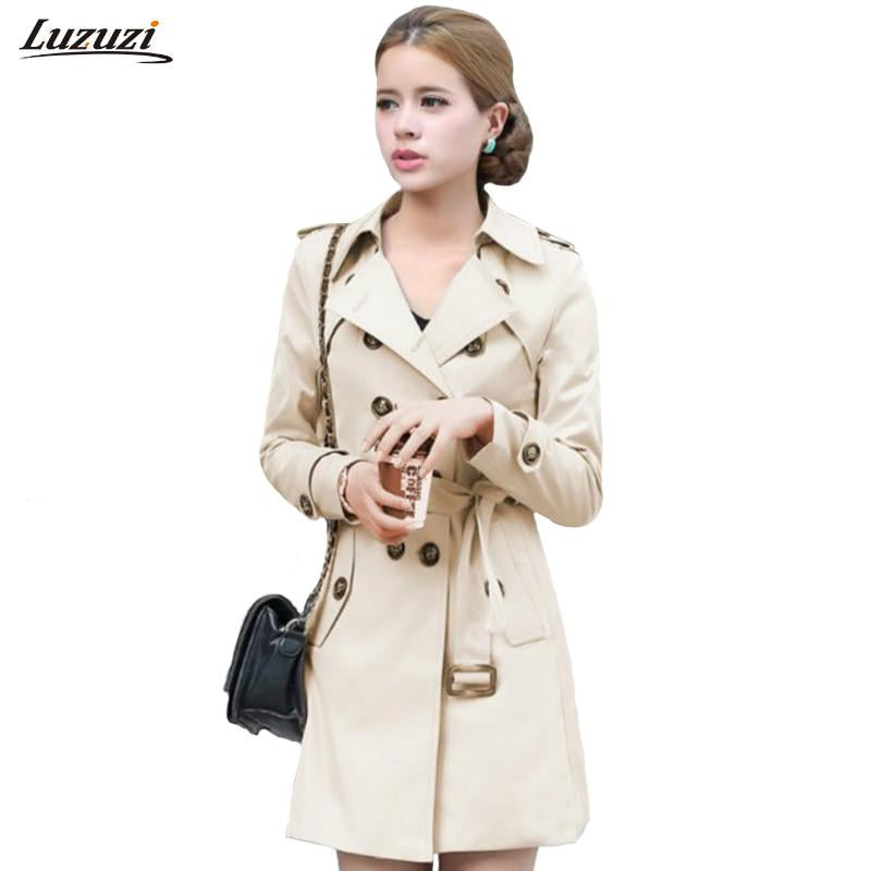 ae47430eb1c Blazers - 1PC Trench Coat For Women Double Breasted Slim Fit Long Spring  Coat Casaco Feminino