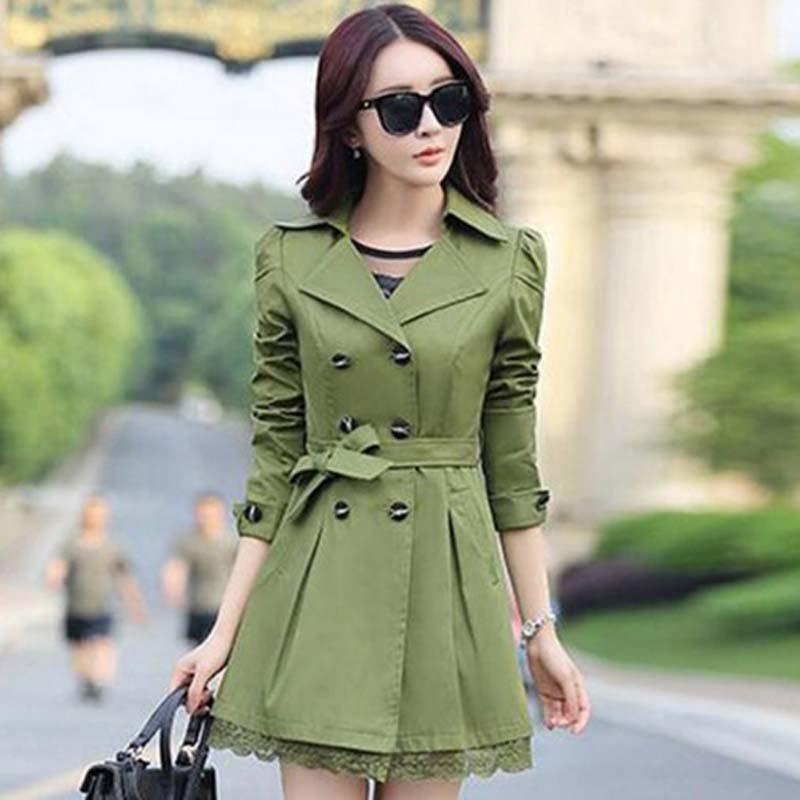 Blazers - 1PC Trench Coat For Women Spring Coat Double Breasted Lace Casaco Feminino Autumn Outerwear Abrigos Mujer Z015 -   jetcube