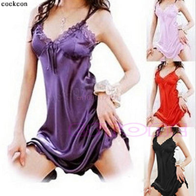 Nightgowns & Sleepshirts - 1pc Women Dress Sexy Sleepwear Nightgown Satin Silk Babydoll Lace Robes Sleep Dress Skirt -   jetcube
