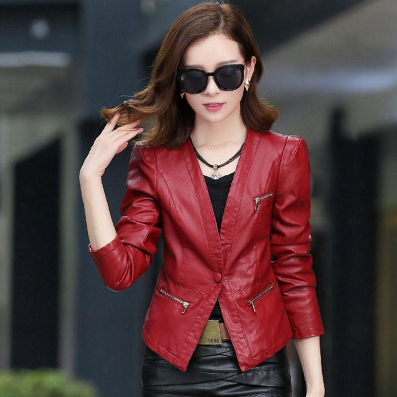 Basic Jackets - 1pcs Women motorcycle leather jacket blazers 2017 Summer leather short suit Jacket ladies Skinny locomotive suit blazers coats -   jetcube