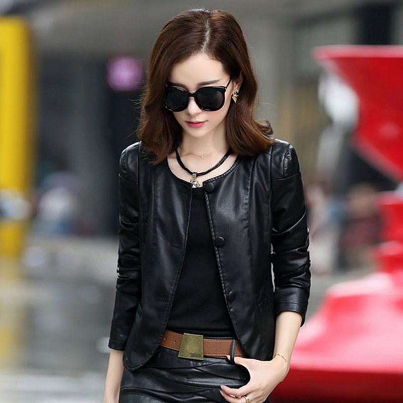 1pcs Women motorcycle leather jacket blazers 2017 Summer leather single-breasted short Jacket ladies Skinny locomotive blazers