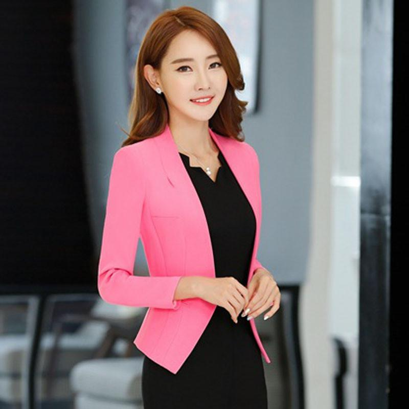 1pcs Women's plus size jacket blazers 2017 Summer Cotton blended Slim Fit small Suit Jackets ladies Skinny short blazers woman