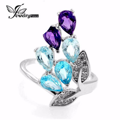 Jewelry - 2.26ct Amethyst Sky Blue Topaz Ring Pear Cut Gemstone Ring Set 925 Solid Sterling Silver 2016 Brand New Gift -   jetcube