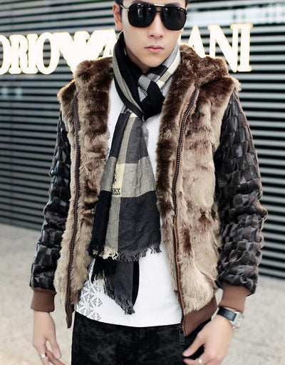 Parka - 2013 new men's fur coat Korean Slim pu leather stitching for fur collar jacket winter hooded long sleeve outwears H1835 -   jetcube