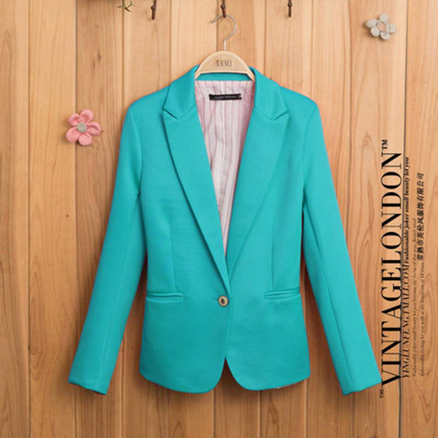 Blazers - 2014 Fashion ZA Womens Tunic Foldable Sleeve Blazer Jacket Candy Color Female Suit  clothing One Button Cardigan Coat -   jetcube