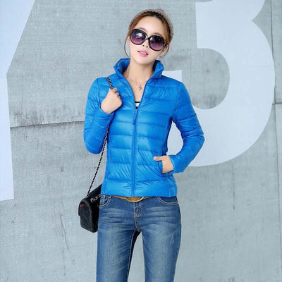 Down Coats - 2014 New Designer Fashion Ladies Short Winter Overcoat Women Brand 90% White Duck Down Coat Jackets Plus Size XXXL -   jetcube