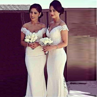 Bridesmaid Dresses - 2014 Vestido de Festa V-neck Mermaid Ivory Bridesmaid Dresses Floor Length Custom Made Long party Gowns Cheap Dresses LR1426 New -   jetcube