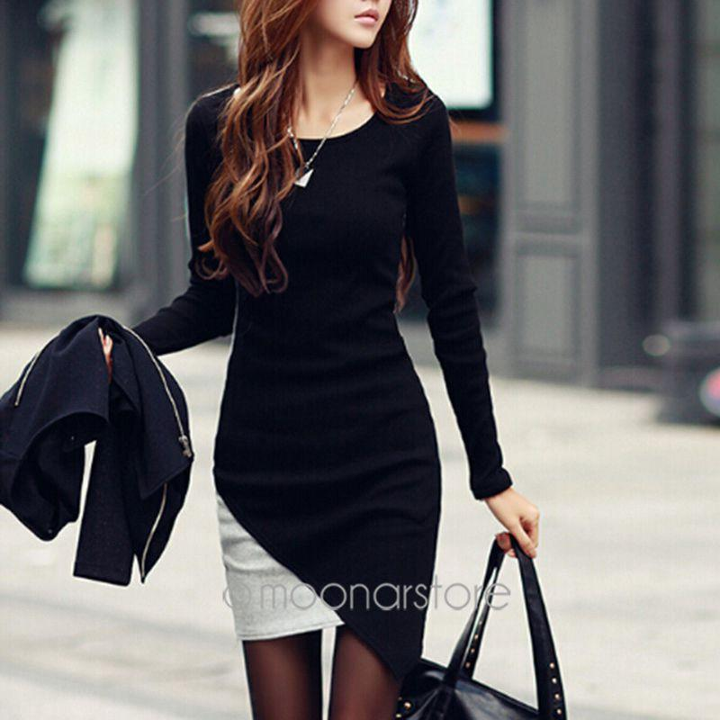 Dresses - 2014 Womens Celebrity Winter Belted Elegant Joint Dress Long Sleeve Work Cocktail Party Sheath Pencil Bodycon Dress -   jetcube